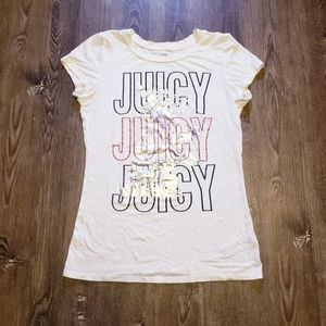 JUICY COUTURE FOIL PRINT WHITE CREW NECK TEE S